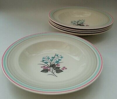 Gray's Pottery Pink & Blue Flowers Vintage Ceramic Soup Bowls X 5 • 19.99£