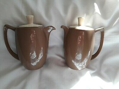 Branksome China Brown & Mushroom -2 Pots - Tea & Coffee -Excellent -17cm • 15£