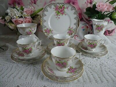 Vintage Fields China 15 Piece Tea Set, Pinks & Golds Very Good Condition • 32£