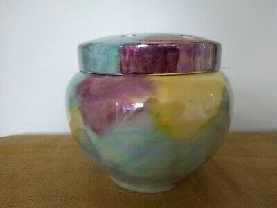 Vintage Oldcourt Ware Hand Painted Lustre Rose Bowl With Lid • 15£