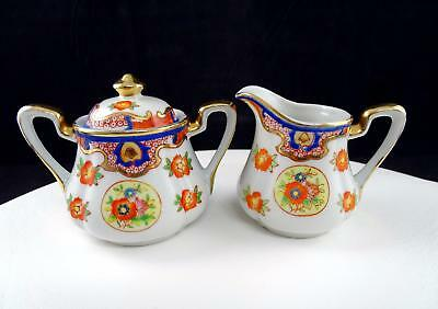 German Porcelain Imari Style Cobalt Gold & Orange Floral 3 1/8  Cream & Sugar • 32.21£
