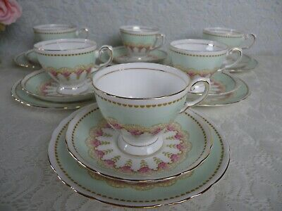 Lovely Vintage Tuscan 6 Trios,18 Piece Tea Set Green & Pink  Very Good Condition • 42£