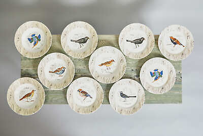 Set Of Ten Gien Ceramic Handpainted Bird Plates And Bowls C1910 • 225£