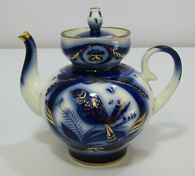 Vintage Lomonosov Blue & White With Gold Features Fine Bird Teapot Made In USSR • 9.99£