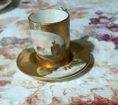 Antique Coalport Miniature Cup And Saucer Hand Painted Lake Scenes - Repaired • 10£