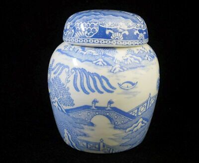 Small Vintage Pale Blue Willow Pattern Ginger Jar • 12.99£