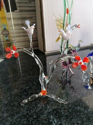 Glass Animal. Two White Doves On Branch Of Tree. With Orange Flowers • 3.64£