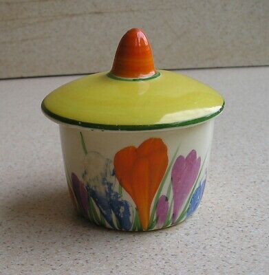 Clarice Cliff Autumn Crocus Lidded Mustard Pot • 35£
