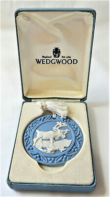 Wedgwood Blue Jasper Christmas Reindeer Festive Decoration Round Boxed • 29.99£