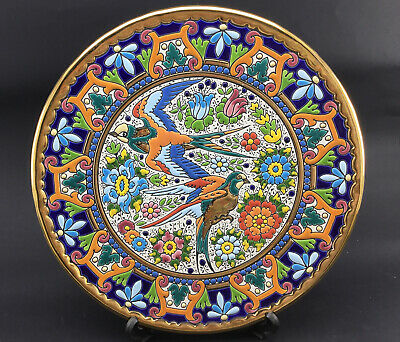 Large Vintage CEARCO Spanish Wall Plate Hand Painted Enamel And 24k Gold • 22£