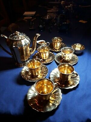Wade Gold Coffee Set With 6 Cups And Saucers - Antique Retro Vintage • 21£