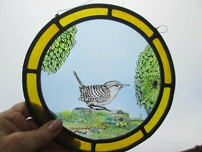Handmade Stained Glass Leaded Light Panel With Hand Painted Wren • 45£