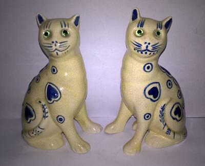 Pair Yellow, Glass Eyed Cats Galle Style With Raised Blue Hearts & Spots • 14.99£