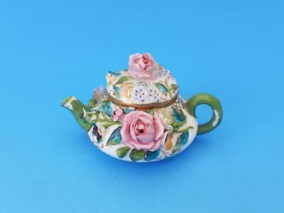 Antique Meissen Miniature Teapot With Encrusted Roses & Flowers • 22£