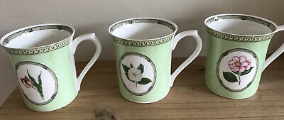 3 Bone China Mugs Royal Horticultural Society APPLEBEE Collection Queens Mugs • 15£