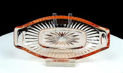 Heisey Signed Narrow Flute Pink Handled 6 1/4  Pickle Dish 1909-1935 • 18.81£