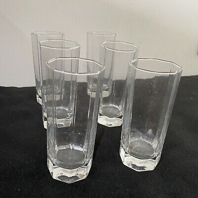 "Vintage Clear Drinking Glasses 5.5"" Tall Octime Octagon Line 10 Oz Set 6 French • 14.99£"