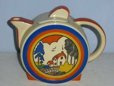 Superb Moorland Clarice Cliff Art Deco Huntley Cottage Tea Pot • 49.95£