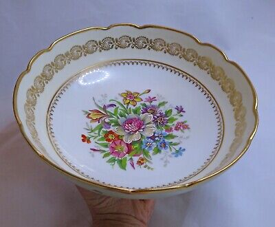 Vintage Limoges France Three Footed Dish. Hand Finished Floral Design 9.5  Diam • 12£
