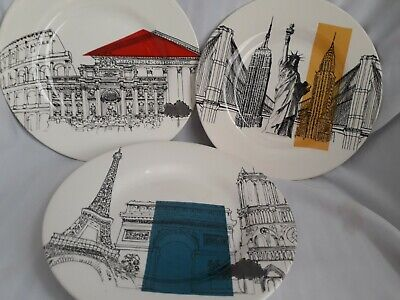 POOLE POTTERY CITIES IN SKETCH X 3 PLATES - 8.5  Or 22cm -Beautiful With Crazing • 14.50£