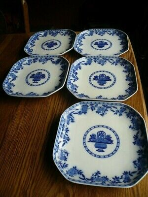 5 Antique Mintons Delft England Plates Stamped Mintons Ws • 30£