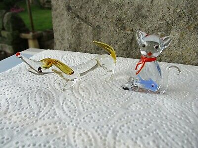 Lovely Vintage Art Glass Dachshund Dog & Cat (fish In Stomach) Small Figurines • 5£