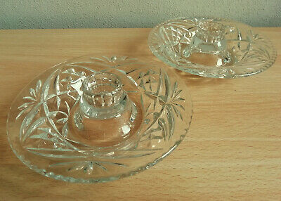 Pair Of Vintage Clear Glass Saucer Shape Candle Holders • 4.50£