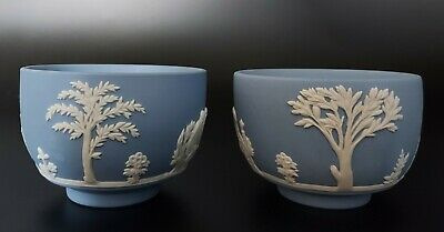 Pair Of Vintage Wedgwood Blue Jasperware Salt Pots / Small Bowls • 15£