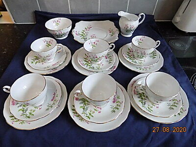 Vintage Royal Standard China Pink Flowers Tea Set - 21 Pieces, Great Condition • 25£