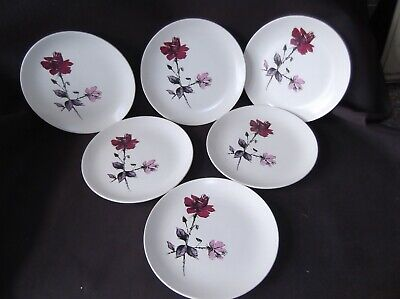 6   Pink And Red Rose Pattern Plates By J & G Meakin • 6.99£