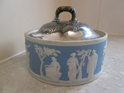 ANTIQUE WEDGWOOD JASPERWARE BOWL WITH PLATED COVER  C.1890's • 19.99£
