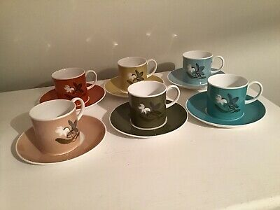 Vintage Susie Cooper Harlequin Coffee Set Of 6 Cups And Saucers • 45£