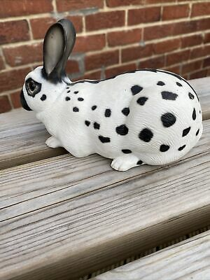 Pottery Rabbit. White With Black Spots Excellent Condition • 18£