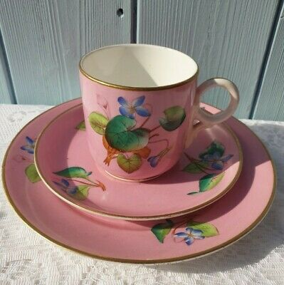 Antique Royal Worcester Style Pink Ring Handle Teacup And Saucer Trio • 20£