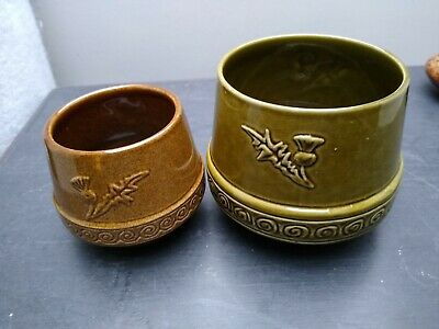 Scottish Studio Pottery Holy Loch Pottery Thistle Sugar Bowls  Pair 60s 70s • 5.99£