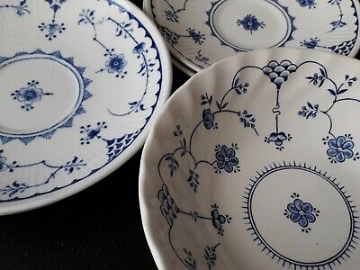 Furnivals Blue & White Denmark X 4 Saucers And 1 Findlandia Cereal Bowl - VGC • 12£