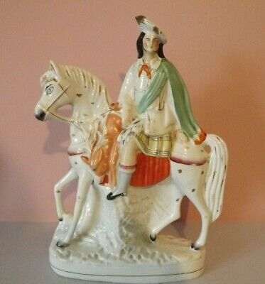 Antique Staffordshire Flatback Figurine ~ Scotsman On Horse ~ 14 Inches • 40£