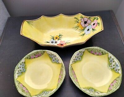 Portland Pottery Cobridge  Painted Dish + MZ Czechoslovakia Bowls Yellow Flowers • 4.29£