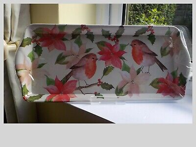 Christmas Tray, Double Robins On Holly Branches, Melamine, Brand New • 6.50£