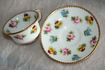 Minton Roses Violets Miniature Cup & Saucer Hand Painted Collectible • 125£