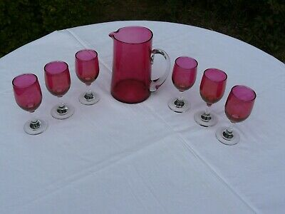 Antique Victorian 6 Ruby Iridescent & Clear Glass Glasses & 1 Ruby Glass Jug VGC • 80£