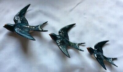 Beswick Perfect Condition Set Of Three Swallows-757/1, 757/2 And 7-Wall Plaques • 80£