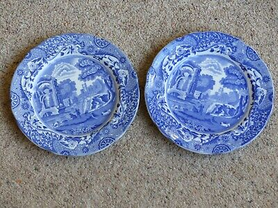"""Two Vintage Copeland Spode Blue Italian Plates 19cms/7.5"""" With Waved Edges • 10£"""