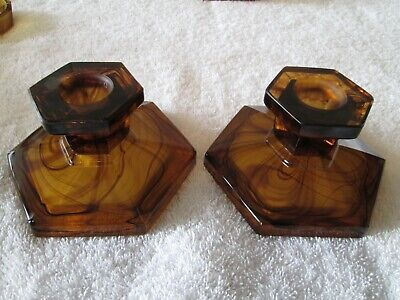 George Davidson Art Deco Amber Cloud Glass Candle Holders • 16£