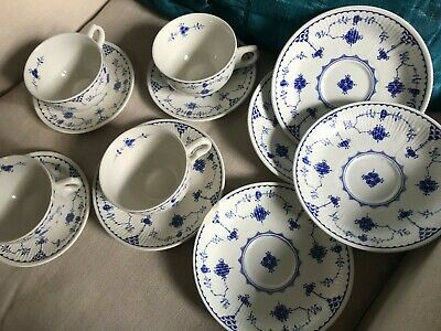 Furnivals Vintage Blue Denmark Cups, Saucers And Plates • 16.50£