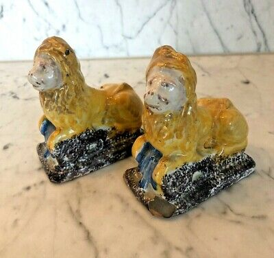 Antique Pair Of French Ceramic Hand Painted Ornamental Lions Poss Late C18th? • 29£