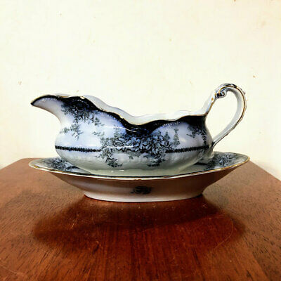 Antique Alfred Meakin Kelvin Flow Blue Gravy Boat With Underplate • 73.62£