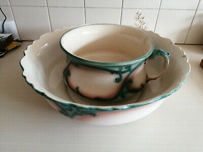 Antique Vintage Large Round Wash Bowl 1898 And Chamber Pot Ideal Planters • 20£