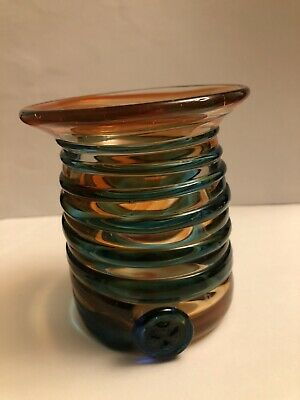 Vintage Art Vase Glass. Signed. Blue And Orange Swirls • 12£