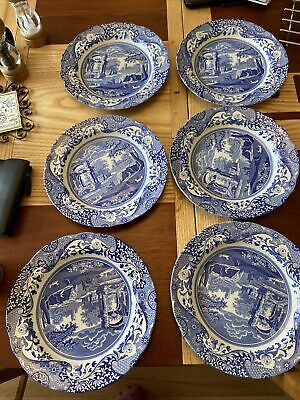 "Spode Blue & White Italian.  Dinner Plates.10 1/2"" Diameter  Set Of 6 See Detail • 14£"